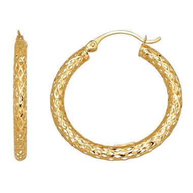 3x28 5mm Diamond Cut Glitter Mesh Hoop Earring In 14k Yellow Gold