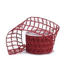 Open-Weave Jute Wired Ribbon - Red (10 yds., 3 ct.)