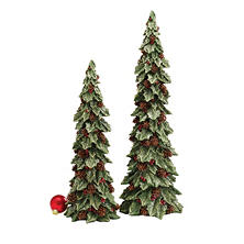 Glittered Holly Trees (Set of 2)
