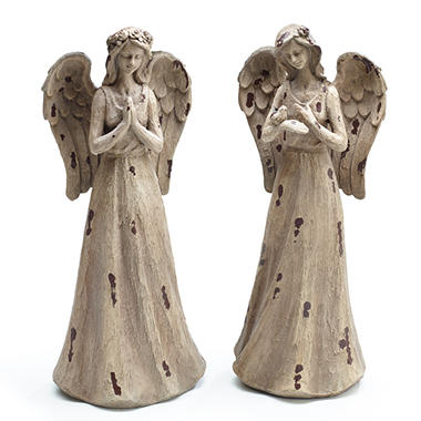 Natural-Style Resin Angels (Set of 2)