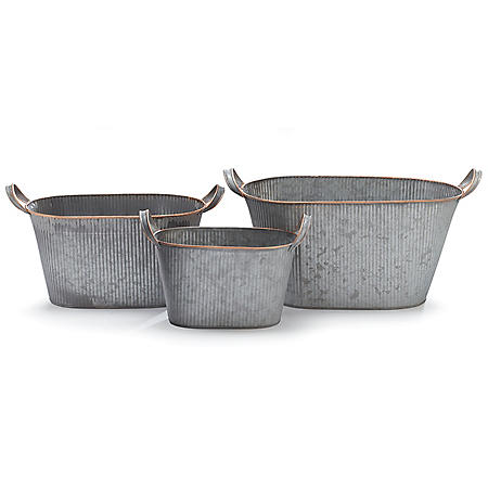 Galvanized Nested Planters (set of 3)