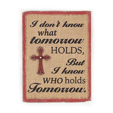 Distressed Hanging Sign with Tomorrow Message (Set of 2)
