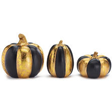 Shiny Gold & Matte Black Pumpkins, Set of 3