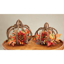 Tabletop Grapevine Pumpkin with Floral Accents