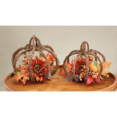 Tabletop Grapevine Pumpkin with Floral Accents, Set of 2