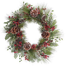 "25"" Frosted Greenery Cristmas Wreath"