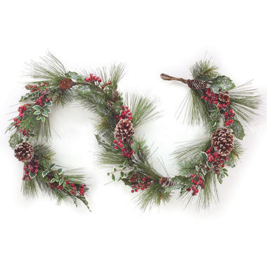 5' Frosted Greenery Garland, Set of 2