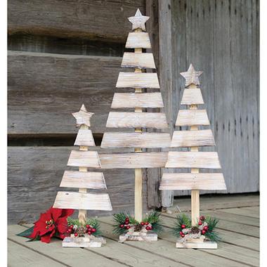 rustic wood slat christmas trees set of 3 - Rustic Wood Christmas Tree