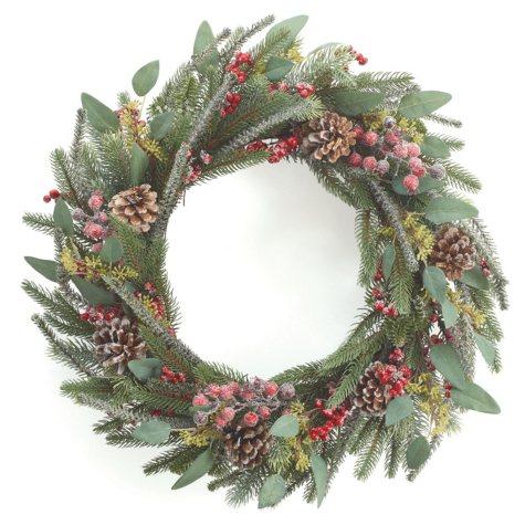 "22"" Frosty Pine Wreath, Set of 2"