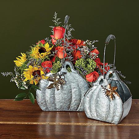Galvanized Pumpkin Shape Basket Assortment (4 ct.)