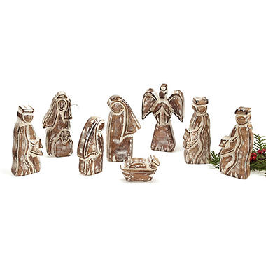 8-Piece Whitewashed Wooden Nativity Set