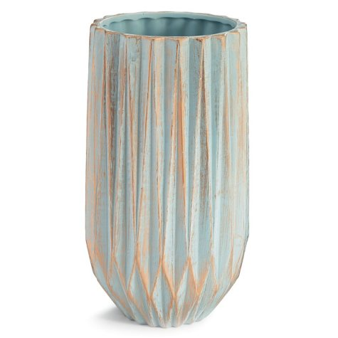 Tall Ceramic Vase, Blue With Gold Wash (4 count)