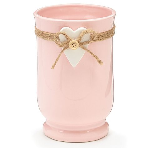 Ceramic Vase With Heart, Soft Pink (6 Pk.)