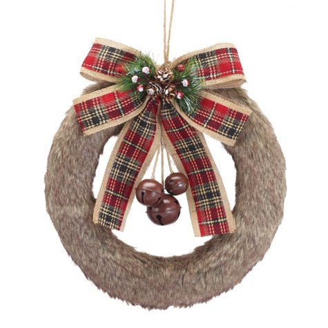 """15"""" Fur Covered Wreath, Set of 2"""
