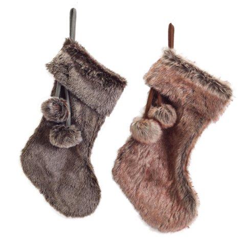 """21"""" Faux Fur Stockings, Set of 4"""