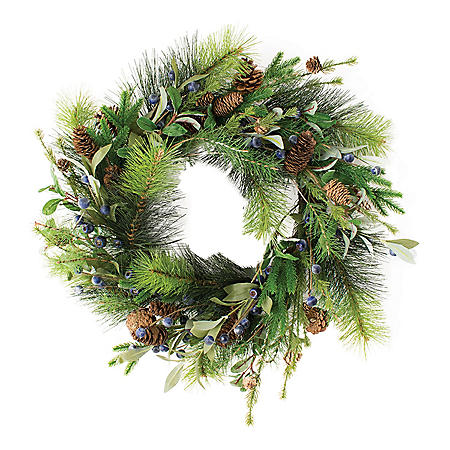 """22"""" Wreath Greenery with Blueberries"""