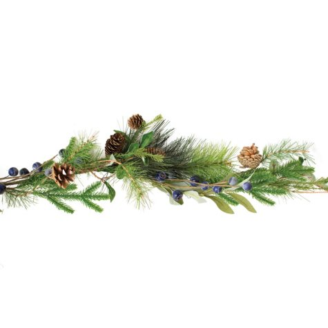 "56"" Greenery and Blueberry Garland, Set of 2"