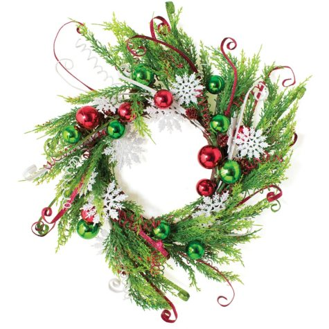 """22"""" Greenery and Snowflakes Wreath, Set of 2"""