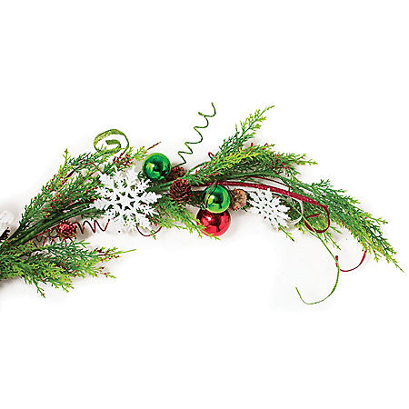"65"" Snowflake and Greenery Garland, Set of 2"