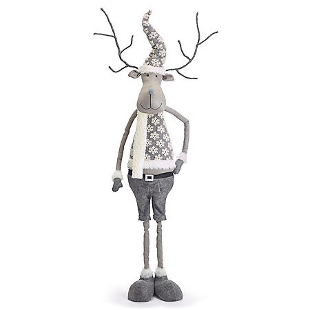 """76"""" Gray Reindeer with Snowflake Sweater"""