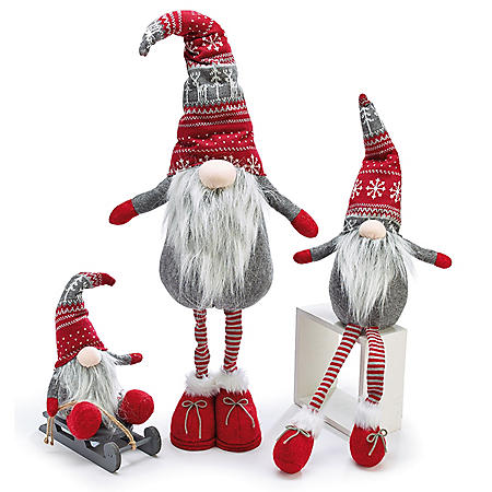 Décor Red and Gray Gnome Assortment