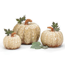 Ivory Sculpted Ceramic Pumpkins with Tin Leaves