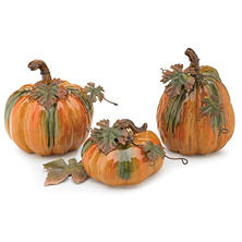 Hand-painted Porcelain Pumpkins-Set of 3 in Autumnal Colors