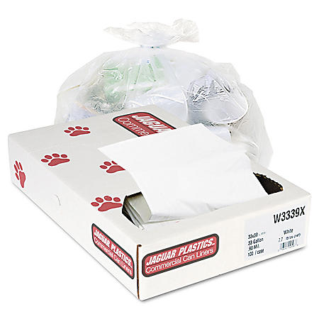 Jaguar Plastics - Industrial Strength Commercial Can Liners, 33gal, .9mil, White -  100/Carton