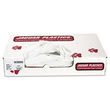 Jaguar Plastics - Industrial Strength Commercial Can Liners, 60gal, .9mil, White -  100/Carton