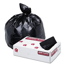 Jaguar Plastics - Low-Density Commercial Can Liner, 60gal, 1.7mil, 38 x 58, Black -  100/Carton