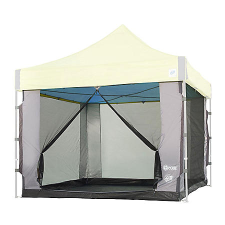 E-Z UP Screen Cube 6, 10'x10', Straight Leg with Carry Bag (Gray)