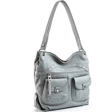 Allison Scott Leather Susannah Studded Hobo Bag - Shadow