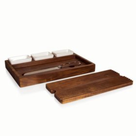 Acacia Bread Cutting Board with Dip Bowls