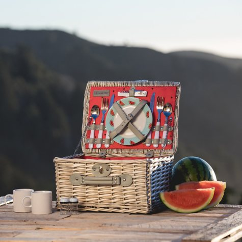 Watermelon Willow Picnic Basket for Two