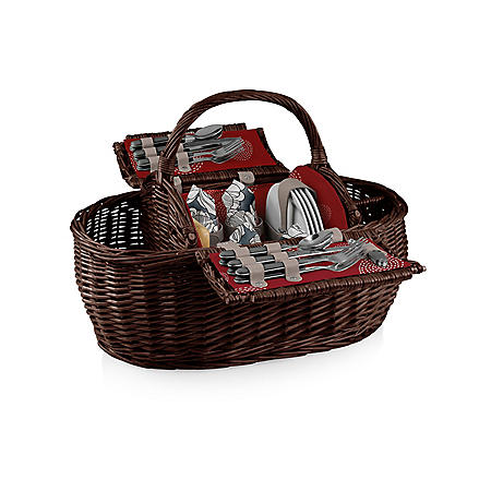 Willow Picnic Basket with Service for Four