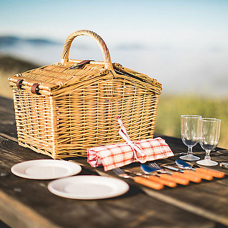 Red Gingham Willow Picnic Basket with Service for Two
