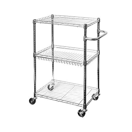 Seville Classics 3-Tier UltraZinc Utility-Kitchen Cart with Basket Shelf