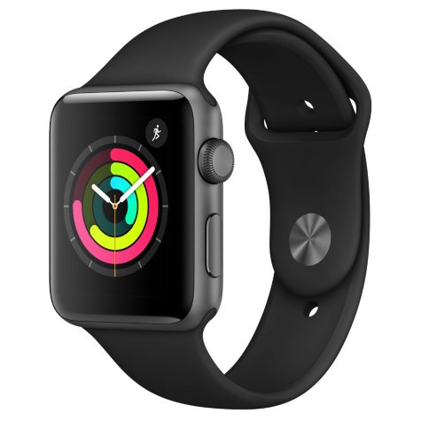 Apple Watch Series 3 GPS - Space Gray Aluminum Case with Black Sport Band (Choose Size)