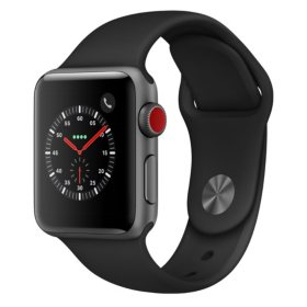 Apple Watch Series 3 GPS + Cellular - Space Gray Aluminum Case with Black Sport Band (Choose Size)