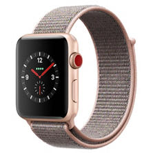 Apple Watch Series 3 GPS + Cellular - Gold Aluminum Case with Pink Sand Sport Loop (Choose Size)