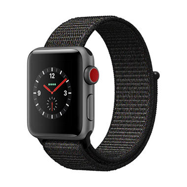 Apple Watch Series 3 GPS + Cellular - Space Gray Aluminum Case with Black Sport Loop (Choose Size)