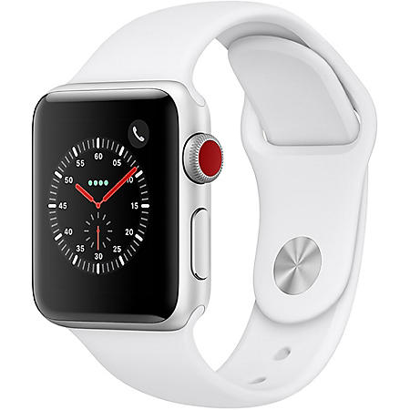 Apple Watch Series 3 GPS + Cellular Silver Aluminum Case with White Sport Band