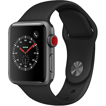 Apple Watch Series 3 GPS + Cellular Space Gray Aluminum Case with Black Sport Band (Choose Size)