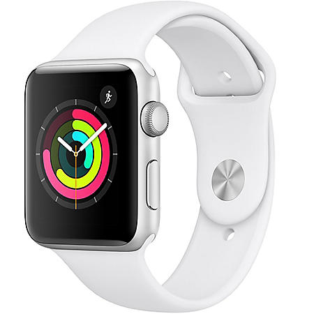 Apple Watch Series 3 GPS Silver Aluminum Case with White Sport Band (Choose Size)