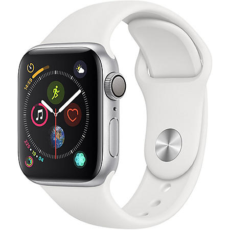 Apple Watch Series 4 GPS Silver Aluminum Case with White Sport Band (Choose Size)