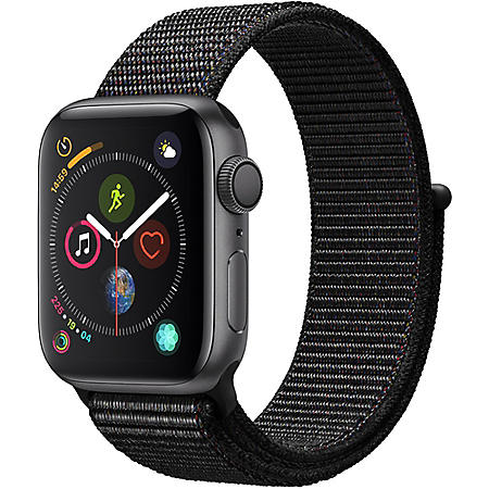 Apple Watch Series 4 GPS Space Gray Aluminum Case with Black Sport Loop (Choose Size)