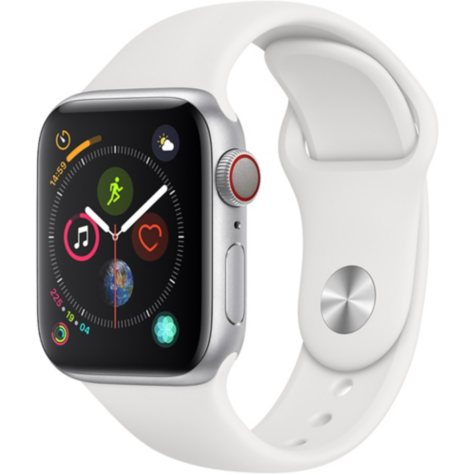 Apple Watch Series 4 GPS + Cellular Silver Aluminum Case with White Sport Band (Choose Size)