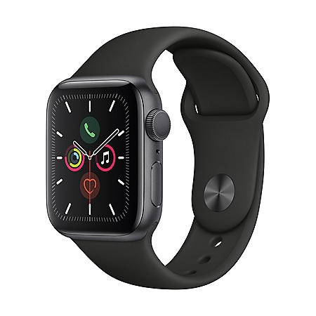 Apple Watch Series 5 GPS Space Gray with Black Band (Choose Size)