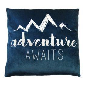 """Adventure Awaits"" Phrase Cloud Pillow (24"" x 24"")"