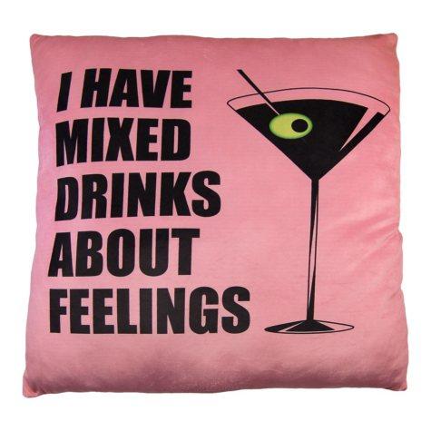 """Mixed Drinks"" Phrase Cloud Pillow (24"" x 24"")"